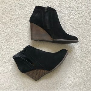 Lucky Brand Yabba Wedge Bootie in Black Suede